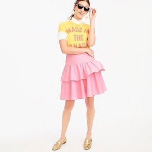 J. Crew Pink Petite Tiered Ruffle Skirt